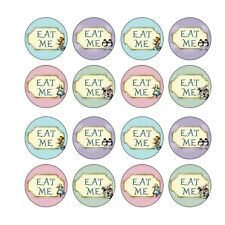 16x EDIBLE Alice in wonderland Eat Me Cupcake Toppers real ICING  4cm (uncut)