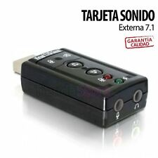 Tarjeta de Sonido Externa USB 3D Sound 7.1 Audio para PC Laptop Virtual DJ Negra