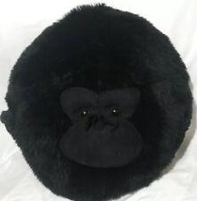 """Universal Studios Round Black Gorilla Monkey Throw Pillow Plush Ape 12"""" Decor"""