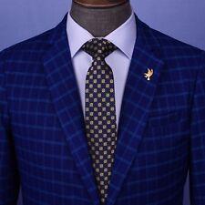 "Yellow Sparkling Diamond Floral Navy Blue Woven Tie Designer Casual 3"" Necktie"
