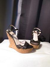 sandales compensées HOUSE of HARLOW cuir noir façon reptile 37