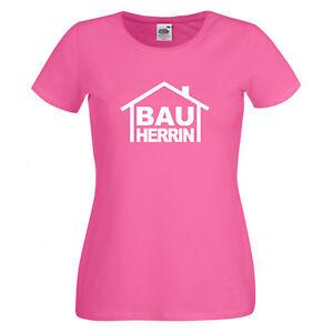 Damen T-Shirt BAUHERRIN Richtfest Bauarbeiter Hausbau Baustelle Bau XS-2XL NEU