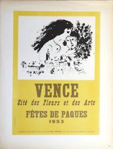MARC CHAGALL Vence Fetes de Paques 12.5 x 9.25 Lithograph 1959 Modernism Yellow