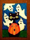 LWick Original Art ACEO Cat A Day 219 Animal Halloween pumpkin ghost teeth