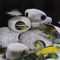 Fish Tank Decoration Aquarium Pond Ceramic Stone Rock Cave Reeding free shipping