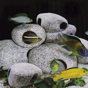 Fish Tank Decoration Aquarium Pond Ceramic Stone Rock Cave Breeding Ornament