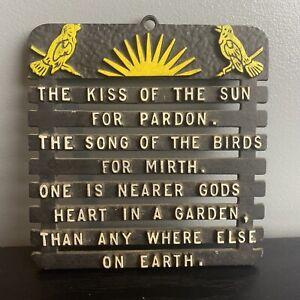 Vintage Trivet Cast Iron Black Yellow The Kiss of the Sun Poem God Faith Home