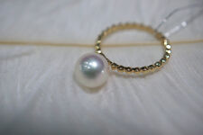 18k Yellow Gold  AAA+ 8-9mm Real natural Akoya White round pearl Ring size 7.5#