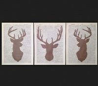 3X Vintage Stag Head Prints 1933 Dictionary Page Wall Art Picture Brown Deer