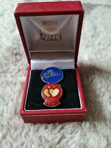 NHS Blood Donor 50 Red Pin Badge. 50 donation award. In box.
