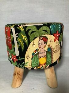 "'Frida Kahlo' Fabric Covered Four Legged Footstool 12"" High"