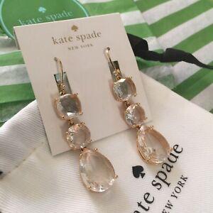 Sparkling Kate Spade 14K GP Make Me Blush Triple Drop Earrings NEW $78