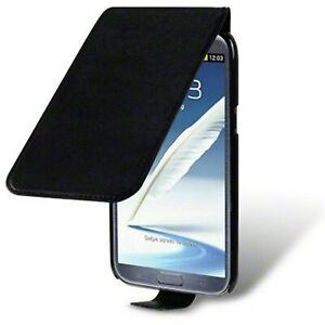 PU Leather Ultra Thin Slim Fit Flip Case Cover Black for Samsung Galaxy Note 2