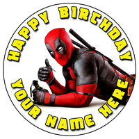 "DEADPOOL FUN PARTY - 7.5"" PERSONALISED ROUND EDIBLE ICING CAKE TOPPER (6)"