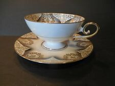 Vintage Tirschenreuth Bavaria Germany Footed Cup & Saucer Gold Mid-Century Retro