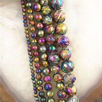 "Titanium Crystal Agate Druzy Quartz Geode Stone Ball Loose Bead D18073103 15.5"""
