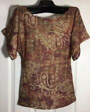 Brand New ladies women Knit top size x-Large Paisley stretchable shirt Blouse