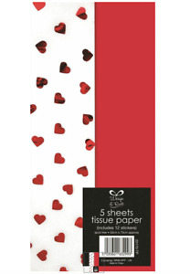 Red Heart Foil Tissue Paper - Size Approx 50cm X 70cm - 5 Sheets