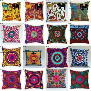 Throw Sofa Pillow Case Cover Embroidery Indian Vintage Cushion Tassel Home Decor