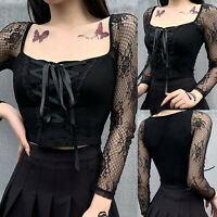 Women Sexy Gothic Tops Black Hollow Out Lace Sleeve Blouse Square Neck Top Shirt