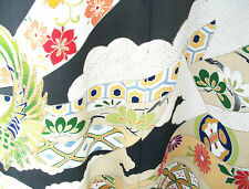 Vintage Hand-Painted Silk Kimono with Gold Embroidery - Japan - Circa 1970's