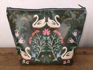 Handmade Make Up Bag Matt Oilcloth Swan Floral Fabric Birds