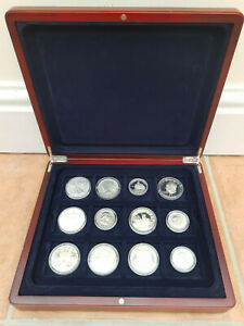 US Dollar Commemorative Collectible Silver Coins Set Lot Of 12 With Wooden Case