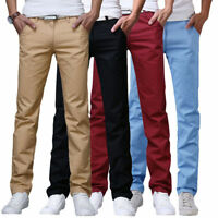 Men's Work Pants Original Slim Fit Chino Straight Leg Trousers Cotton Long Pants