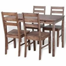 vidaXL Solid Acacia Wood Dining Set 1 Table and 4 Chairs Kitchen Home Furniture