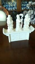 Alabaster Chinese Wise Men and Stand / Plinth