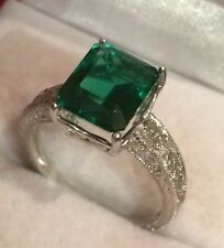 GORGEOUS  GREEN EMERALD MAIN STONE 5.90CT FILIGREE 925 SILVER RING SZ 6.75