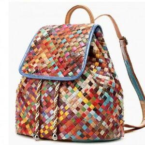 NEU echt Leder Multicolor Patchwork Flecht Rucksack Backpack Tasche Bohemian