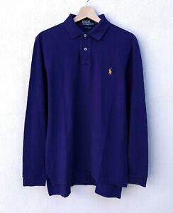 Polo RALPH LAUREN Uomo S Custom Fit Manica Lunga Maglia Camiseta Hombre Viola