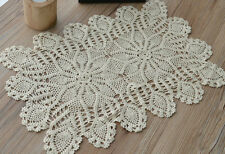 """Vintage 18"""" Oblong Pineapple Crochet Doily French Country Ecru Floral"""
