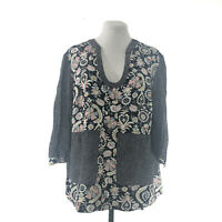Boden Womens Long sleeves Popover Floral Printed Casual Boho Blouse Top Size 18