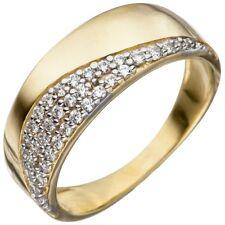 Ring Damenring mit Zirkonia weiß 333 Gold Gelbgold teilrhodiniert Fingerring