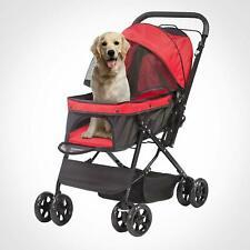 4 Wheels Folding Pet Stroller Cat Dog Travel Carrie Cart Cage w/ Storage Basket