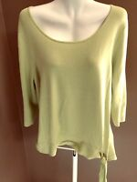 COLDWATER CREEK Size 1X Lime Rayon Nylon Knit Top Stretchy 3/4 Sleeve PLUS 18 20