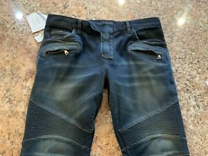 100% AUTHENTIC BALMAIN BLUE BIKER HOMME JEANS SIZE 36(XL),  NEW, MADE IN ITALY