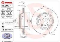 Disc Brake Rotor-Premium UV Coated OE Equivalent Rotor Rear Brembo 09.C117.11