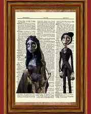 The Corpse Bride Dictionary Art Print Poster Burton Emily Victor Johnny Helena