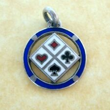 Rare Antique .800 Silver French Enamel Charm Lucky Card Symbols Charm