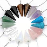 Crystal Gemstone Quartz Pendulum Healing Dowsing Reiki Chakra Pendant Chain Nice