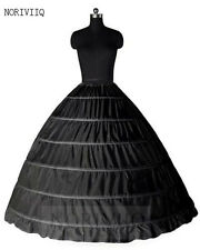 Women 6 Hoop Black Petticoat Skirts Bridal Ball Gown Crinoline Underskirt Slips