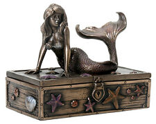 Mermaid Sculpture On Treasure Box Statue Figurine *SHIPS WORLDWIDE *SHOP EARLY