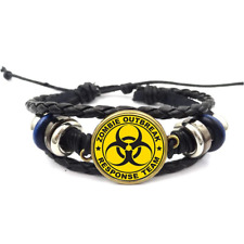 Zombie Outbreak Response Glass Cabochon Bracelet Braided Leather Strap Bracelets
