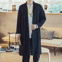 Mens Cotton Linen Kimono Loose Coat Yukata Japanese Jackets Long Bathrobe Casual
