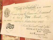 More details for peppiatt white 5 pound issued oct 1945 londonk43 050061