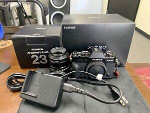 Fujifilm X-T20 24.3MP Digital Camera - Black with 23mm F/2.0 Lens