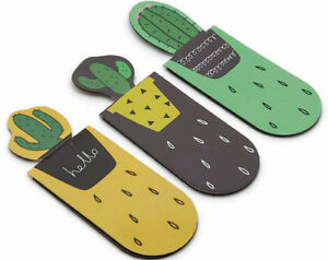 3Pcs Funny Cute Cactus Magnetic Bookmark School Office Supplies Stationery